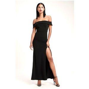 Lulu's Aveline Black Off Shoulder Maxi Dress XS